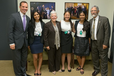With EPA Administrator Gina McCarthy (third from left) and White House Office of Science and Technology Policy Director John Holden (sixth from left)